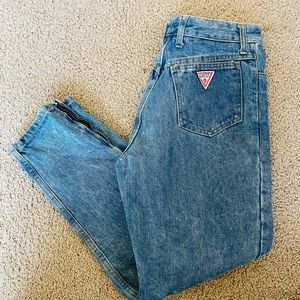 Guess vintage high waisted jeans zip hem tapered